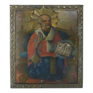 Russian Icon in Oil on Wood For Sale