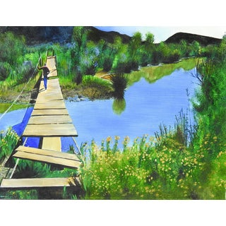 Old Foot Bridge Crossing Painting For Sale
