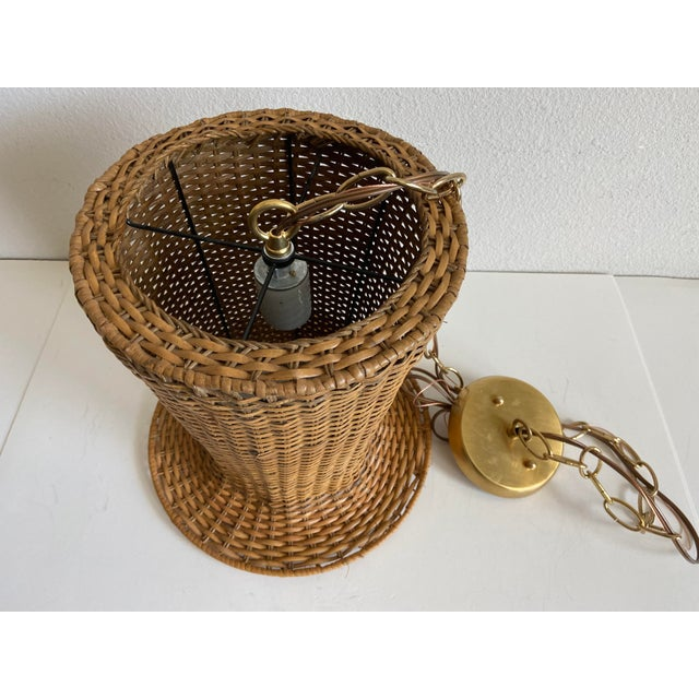 Sand Wicker Top Hat Pendant Light For Sale - Image 8 of 10