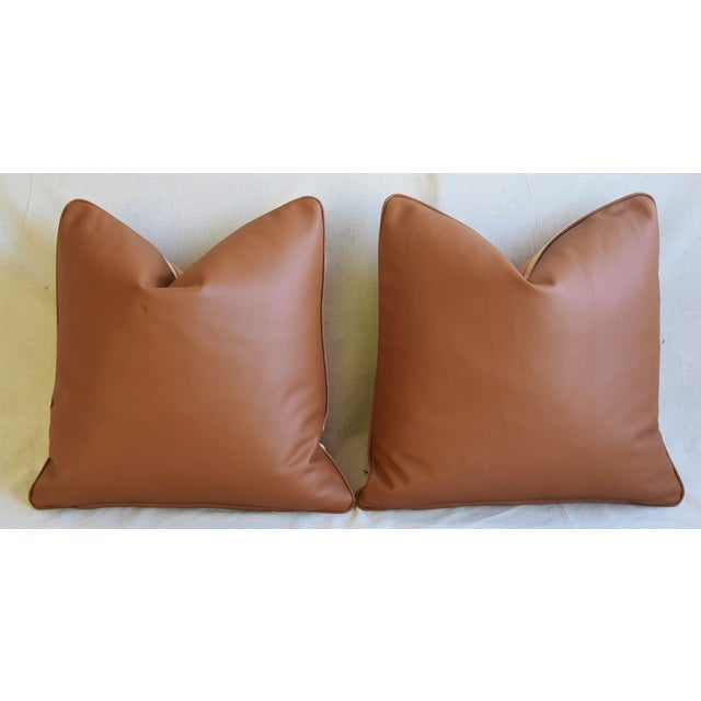 "Rogers & Goffigon & Leather Feather/Down Pillows 20"" Square - Pair For Sale - Image 10 of 13"