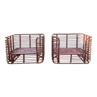 Vintage Henry Olko Mid Century Modern Boho Bamboo Sculptural Henry Olko Arm Chairs - a Pair For Sale