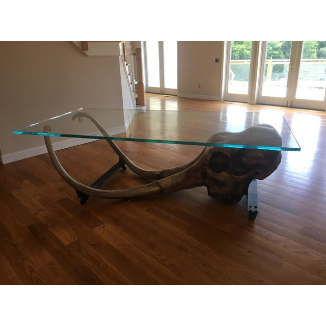 Airbrush Large Woolly Mammoth Head 8ft Glass Top Table For Sale - Image 7 of 13
