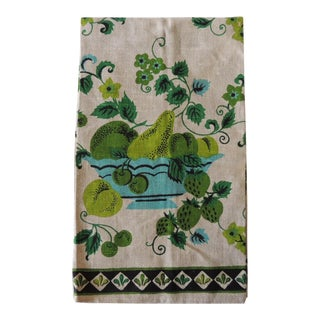 Vintage Green and Blue Printed Bathroom Guest Towel For Sale