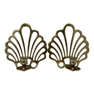 Brass Shell Sconces - A Pair For Sale