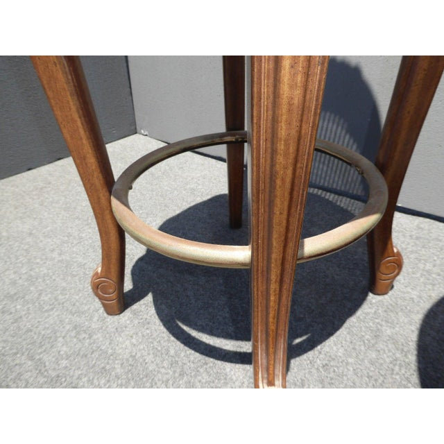 Vintage French Provincial Leather & Cane Bar Stools - A Pair - Image 11 of 11