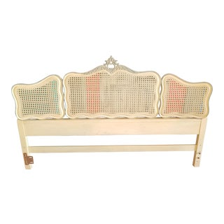 Vintage French Provincial Caned King Headboard For Sale