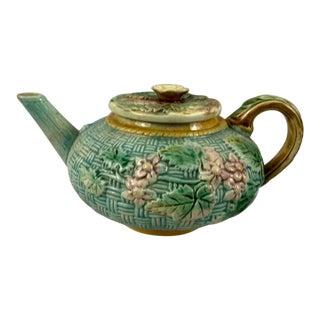 Vintage Majolica Blue Basket Weave Teapot For Sale