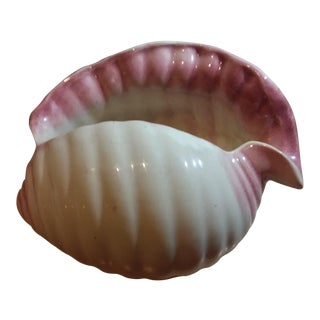 Pink & White Porcelain Seashell Shaped Planter