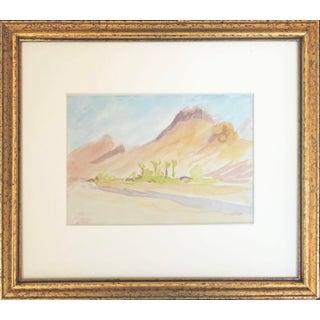 "Vintage ""Medina"" Desert Landscape Watercolor Painting For Sale"
