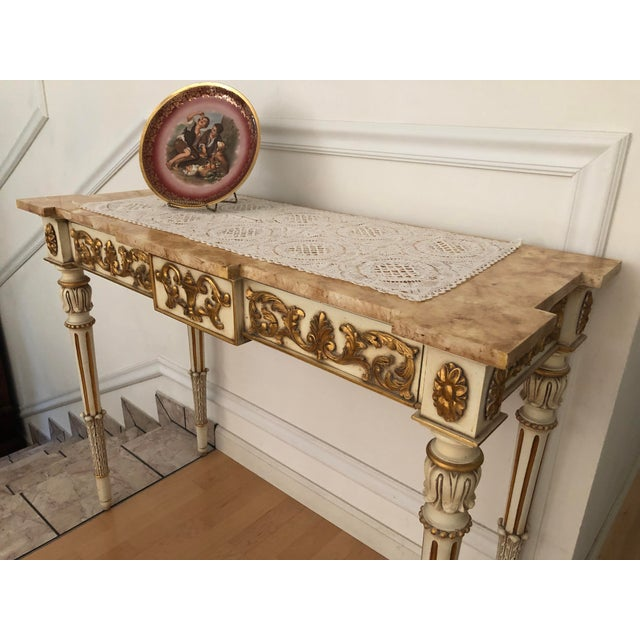 Rare mid-century Karges Louis XVI console entry table with full center drawer. Classic elegance. Hand-carved European...