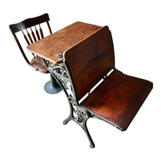 C1880 Victorian Schoolhouse Desk & Pedestal Chair W/ Inkwell, Bookshelf, Ornate Iron Base For Sale