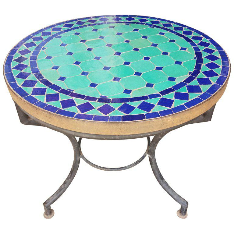 Moroccan Blue And Turquoise Mosaic Side Table For Sale In Orlando   Image 6  Of 6