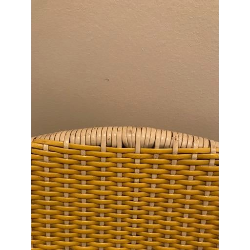 Tan Vintage Mid-Century Atomic Vinyl Yellow Basket Chair For Sale - Image 8 of 13