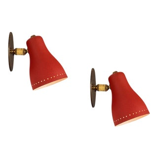 1950s Red Perforated Sconces Attributed to Jacques Biny - a Pair For Sale