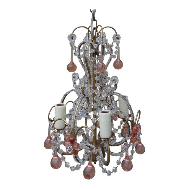Petite Pink Drop Crystal Chandelier - Image 1 of 6