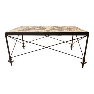 Midcentury Wrought Iron Mosaic Coffee Table For Sale