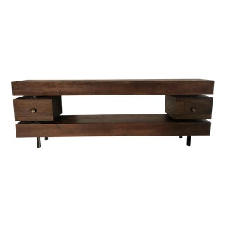 HD Buttercup Rustic Two Drawer Wood Dillon Console Table For Sale