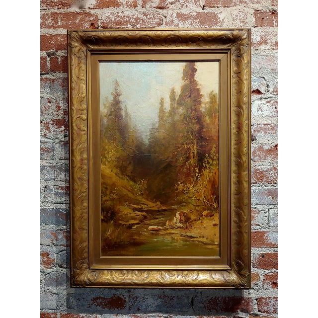 """Frederick Ferdinand Schafer """"California Wooded River Landscape"""" Oil Painting, 19th Century For Sale - Image 9 of 9"""