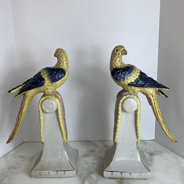 Vintage Extra Large Chinese Parrots on Perches- a Pair For Sale - Image 13 of 13
