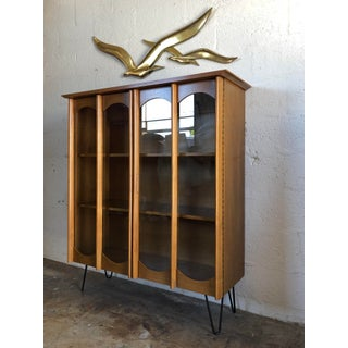 Vintage Mid-Century Modern Bookcase / China Display Cabinet With Glass Doors Preview
