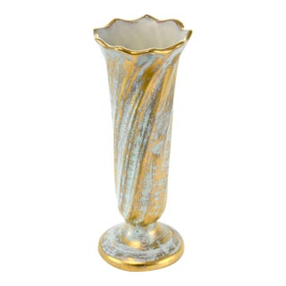Stangl Aqua & Gold Vase For Sale