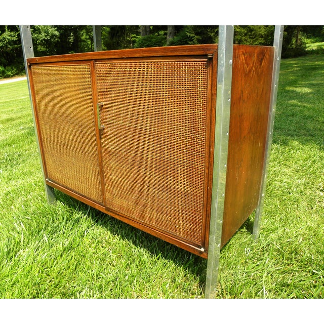 Vintage Mid-Century Chrome and Walnut Wall Unit For Sale In New York - Image 6 of 9