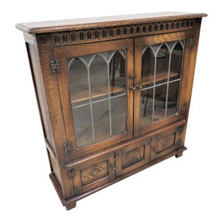 English Tudor Style Tiger Oak Bookcase With Faux Lead Glass Doors For Sale