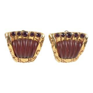Kalinger Paris Clip on Earrings Purple Resin Gilt Metal Rhinestone For Sale