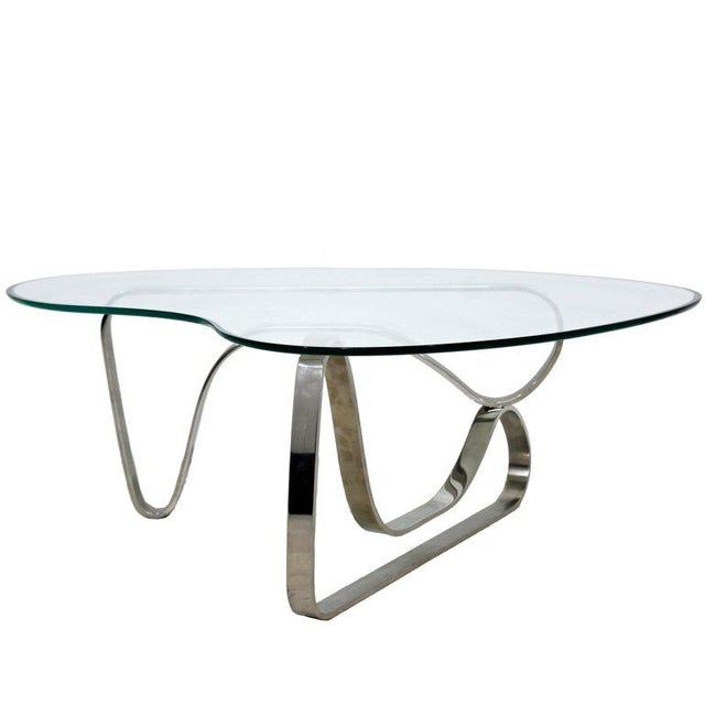 Mid-Century Modern Sculptural Chrome Kidney Glass Coffee Table Pace Era, 1970s For Sale - Image 10 of 10