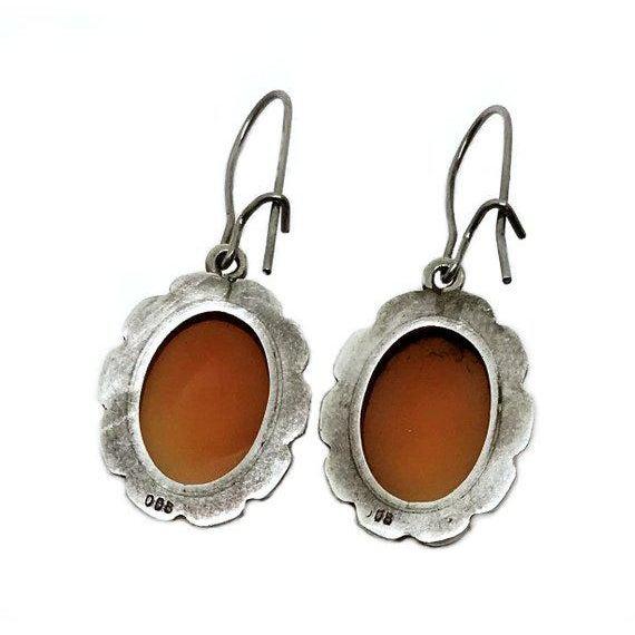 Italian Italian 800 Silver Cameo Earrings For Sale - Image 3 of 4
