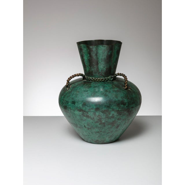 Fine Italian 30s Remarkable Metal Vase Decaso
