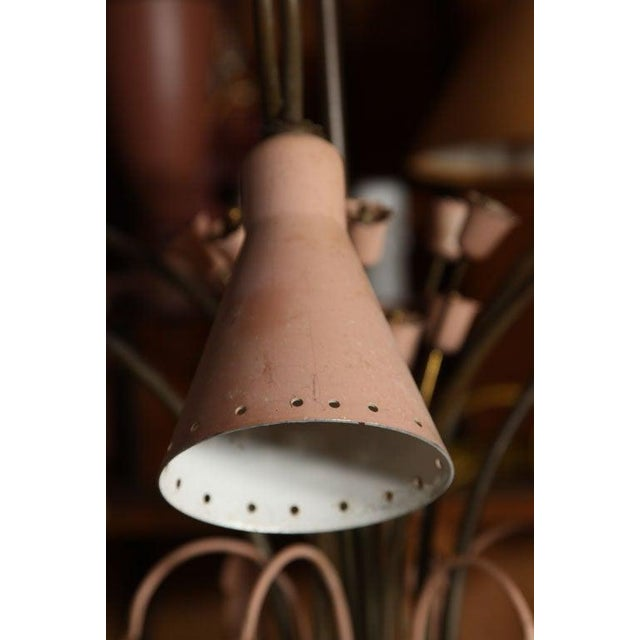 1950s Mid-Century Modern Brass and Pink Painted Metal Chandelier For Sale - Image 5 of 8