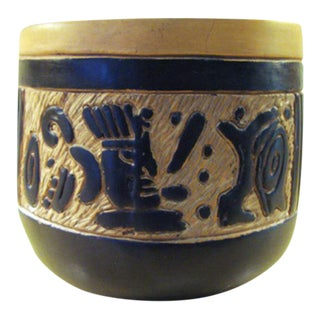 Mid-20th Century Mexican Oaxacan Negro Incised Planter