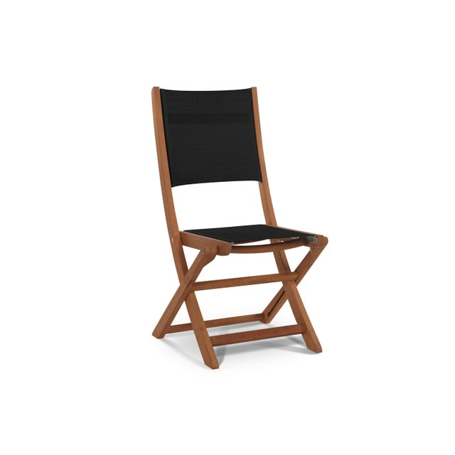 Not Yet Made - Made To Order Stella 3-Piece Teak Outdoor Round Folding Table and Chair Bistro Set in Black For Sale - Image 5 of 7