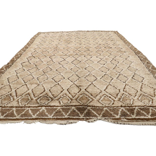 Contemporary Vintage Berber Moroccan Rug With Earth-Tone Colors - 7'1 X 9'8 For Sale - Image 3 of 10