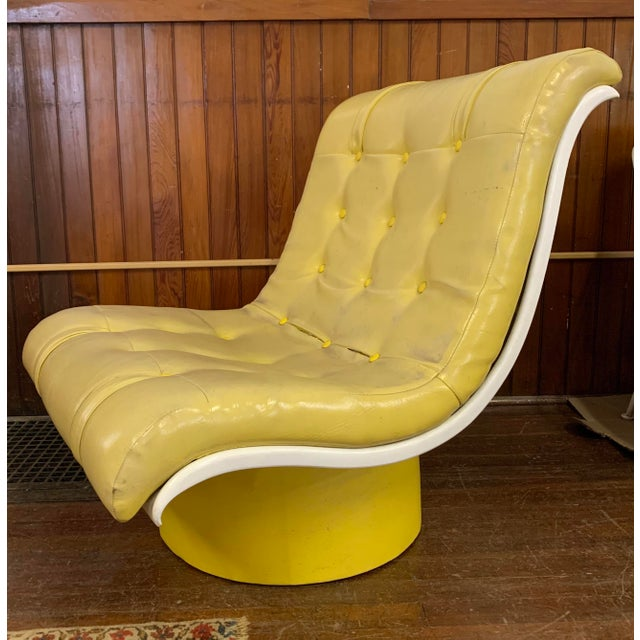 Mid Century Fiberglass Yellow Modern Wave Lounge Chair For Sale - Image 10 of 10