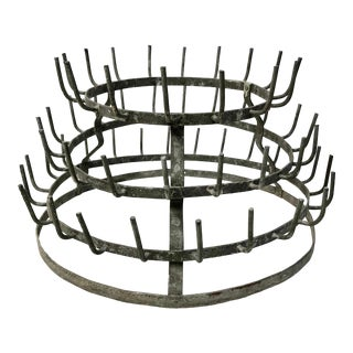 Vintage French Zinc Bottle Rack For Sale