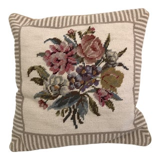 Floral Needlepoint Velvet Back Pillow For Sale