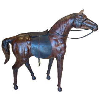 Race Horse Statue Leather For Sale