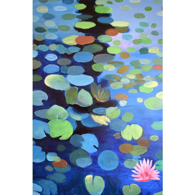 Large Waterlily Sunset Acrylic Painting For Sale - Image 6 of 7