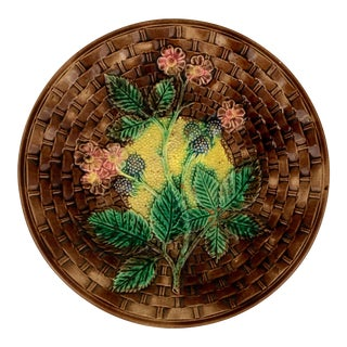 Antique Large Majolica Plate With Basketweave Design For Sale