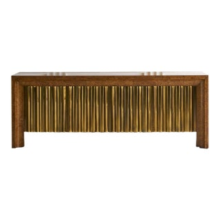 Mastercraft Burlwood and Brass Credenza For Sale