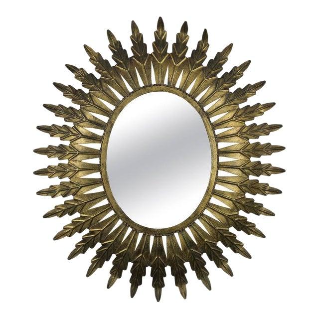 Gilt Metal Oval Sunburst Mirror - Image 1 of 9