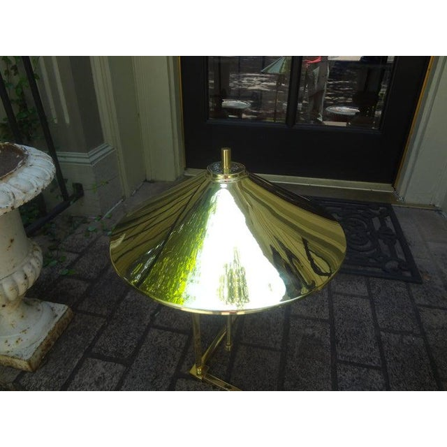 Vintage Polished Brass Lamp With Brass Shade For Sale - Image 11 of 13