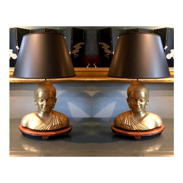 Vintage Solid Brass Buddha Lamps - Pair - Image 2 of 7