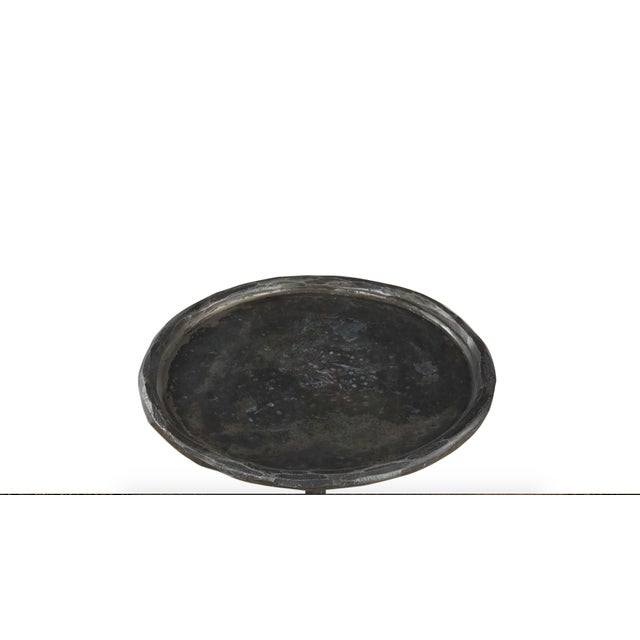 A Modern take on the Burger Side Table with a Hammered Cast Iron Finish