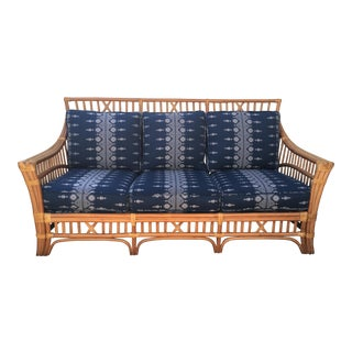 1980s Boho Chic Peter Dunham Reupholstered Bamboo Sofa For Sale