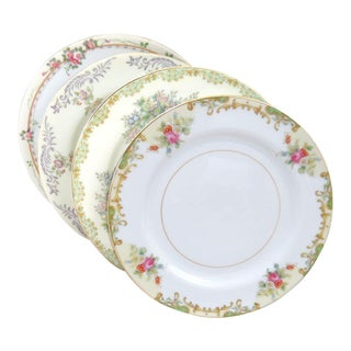 Vintage Mismatched Fine China Salad Plates - Set of 4