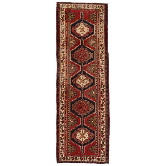 Textile 20th Century Nomadic Style Persian Azerbaijan Tribal Hallway Runner - 3′7″ × 10′9″ For Sale - Image 7 of 7