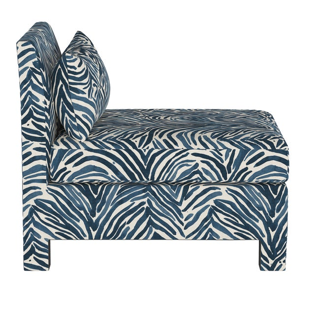 Transitional Armless Chair, Washed Zebra Blue For Sale - Image 3 of 8